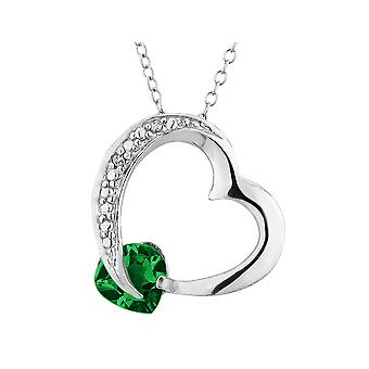 Created Emerald Heart Pendant Necklace with Diamond Accent 4/5 Carat (ctw) in Sterling Silver with Chain