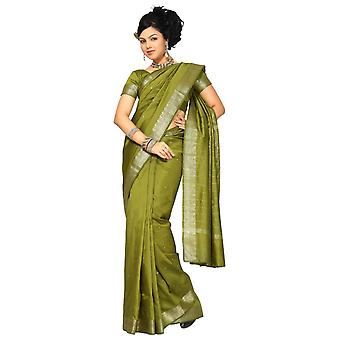 Olivengrøn kunst silke Saree Sari stof Indien gylden kant