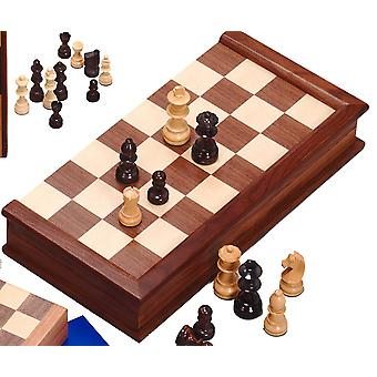 Walnut Chess Set with Indian Handcarved Pieces (3.25 inch King)