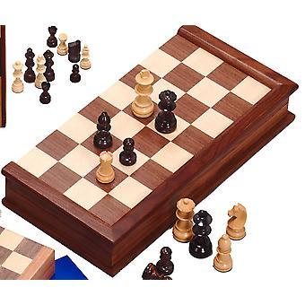 Insieme di scacchi in noce con indiano Handcarved pezzi (3,25 pollici re)