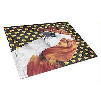 Beagle Candy Corn Halloween Portrait Glass Cutting Board Large