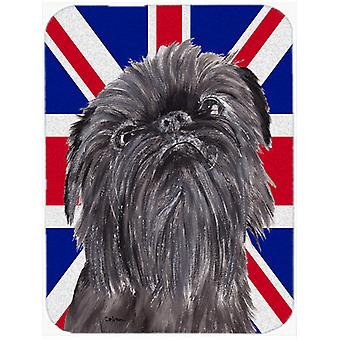Brussels Griffon with Engish Union Jack British Flag Glass Cutting Board Large S