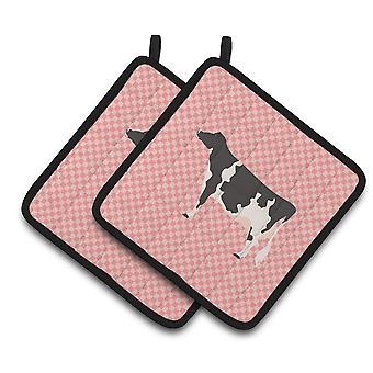 Carolines tesoros BB7822PTHD Holstein vaca rosa Check par de agarraderas