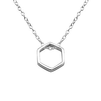 Hexagon - 925 Sterling Silver Plain Necklaces - W25840X