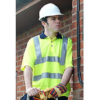 High Visibility Viz Mens Short Sleeved Workwear Reflective Polo Shirts Yellow