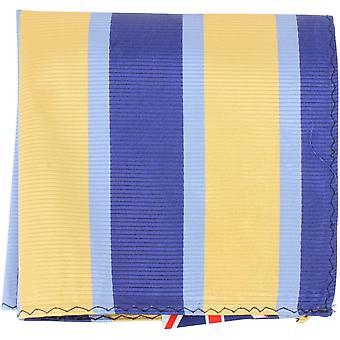 Knightsbridge Neckwear stribet silke Pocket Square - gul/blå