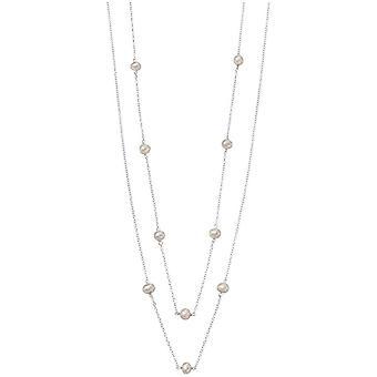 Начало пресноводные жемчужные станции ожерелье - белый/серебро