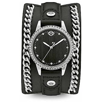 Harley Davidson Womens From The Chain Cuff Collection | Black Leather Strap 76L184 Watch
