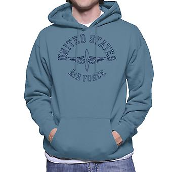 US Airforce Winged Propeller Navy Blue Text Men's Hooded Sweatshirt