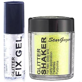 Stargazer Loose Glitter Shaker with Glitter Fix Gel Glue-UV Yellow