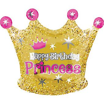 Anagram Happy Birthday Princess Crown Shaped Foil Balloon