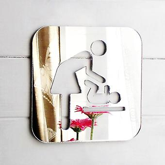 Mother & Baby Changing Room Square Acrylic Mirrored Door Sign