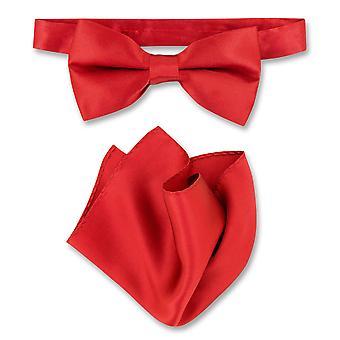 Biagio 100% משי BowTie מוצק Mens עניבת פרפר & מטפחת