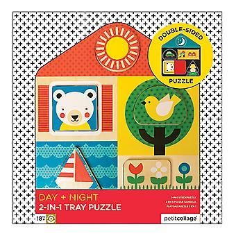 Petit Collage dag & nacht houten lade twee-zijdige puzzel