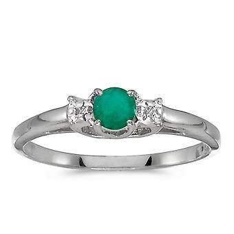 LXR 14k White Gold Round Emerald and Diamond Ring 0.19 ct