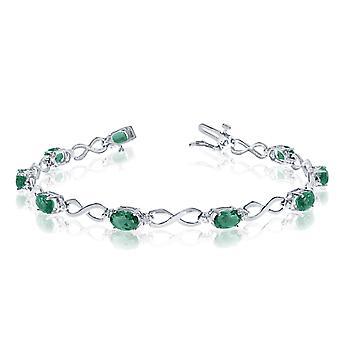 LXR 14K White Gold Oval Emerald and Diamond Bracelet 2.79 ct