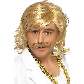 Curly Blonde Wavy Wig, Game Show Host Kit, Wig and Tash, Fancy Dress