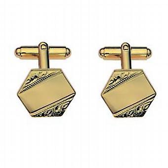 Hard Gold Plated 18x18mm hexagonal hand engraved Cufflinks