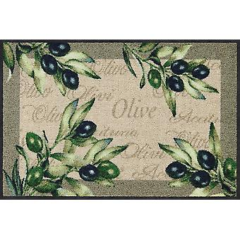 Salon lion foot mat olive Olivo of washable door rug runner