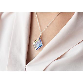 Ah! Joyería de plata de ley Aurore boreale cristales de Swarovski Rhombus neckace