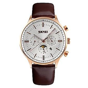 SKMEI Beautiful Quartz Mens Watch Rose Gold Multi Dial Sun Moon Dial Brown Leather Strap 9117G