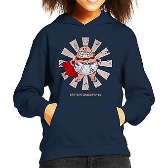 Captain Underpants Retro Japanese Kid's Hooded Sweatshirt