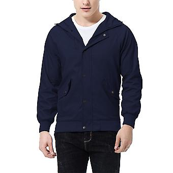 Allthemen menns jakke glidelås hette stor lomme casual jakke