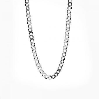 "Eternity Sterling Silver 20"" Solid Flat Open Diamond Cut Curb Chain"