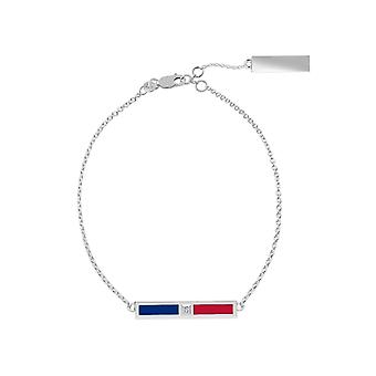 Texas Rangers Sterling Silver Diamond Bar Chain Bracelet In Blue & Red