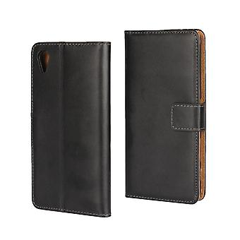 Wallet Case Sony X Performance, genuine leather, black