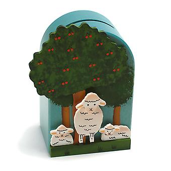 Weizenkorn piggy bank 3D Sheep Wood