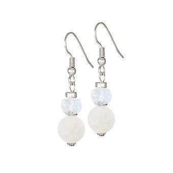 Rapsodia colección eterna ágata blanca y cristal perforado pendientes