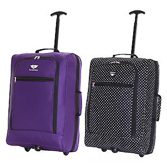 Slimbridge Montecorto Set of 2 Cabin Luggage Bags, (Set of Purple and Black Dots)