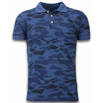 Camo Polo Shirt-Washed Camouflage-Blue