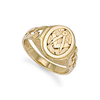 Jewelco Londen mannen solide 9ct Yellow Gold Curb links ovale Masonic ring