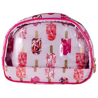 Danielle Creations Two Piece Oval Makeup Cosmetics Bag Set - Pink Lollies