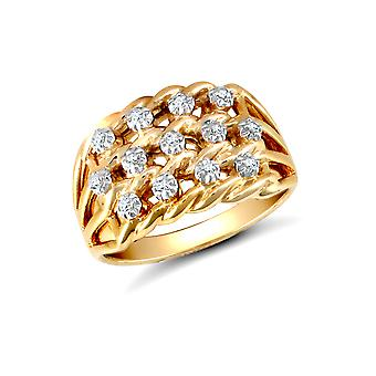 Jewelco London Solid 9ct Yellow Gold Illusion Set Round H I2 0.16ct Diamond Rope Keeper Cluster Ring 12mm