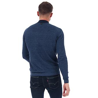 Mens Duck And Cover Cartwright Knit Polo Shirt In Navy- Long Sleeve- Ribbed