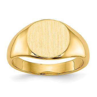 14 k Gelbgold solide zurück gravierbare Siegel Ring Größe 3 - 3,6 Gramm
