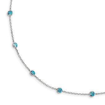 925 Sterling Sølv Polert Aqua CZ Kubikk Zirconia Simulert Diamant Halskjede 18 Tommers Vår Ring Smykker Gaver Til Wom