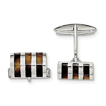 925 Sterling Silver Tigers Eye Cuff Links Jewelry Gifts for Men