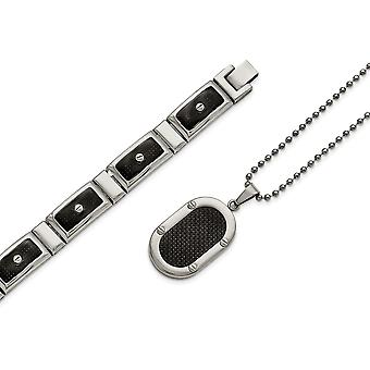 Stainless Steel Polished Black Carbon Fiber Bracelet Necklace Set Jewelry Gifts for Women