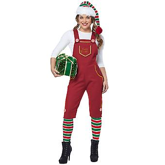 Santa's Workshop Elf Christmas Helper Festival Holiday Adult Womens Costume