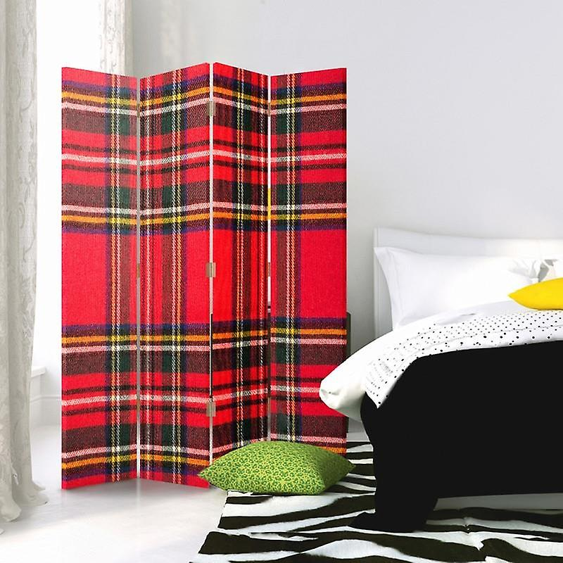 Room Divider, 4 panneaux, Double-Sided, Rotatable 360 ?? Canvas, Checkered 1