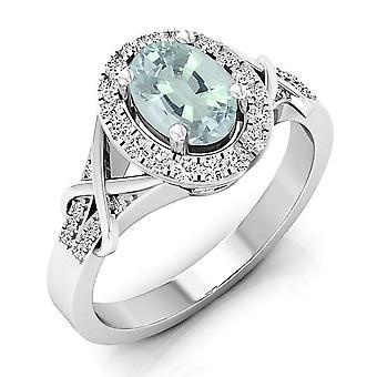 Dazzlingrock samling 14K oval cut Aquamarine & runde cut Diamond Bryllupsutstyr Halo Forlovelses ring, hvitt gull