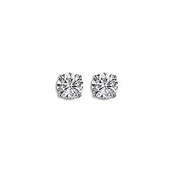 Dazzlingrock kollektion IGI certificeret 0,09 karat (CTW) 14K rund skåret hvid diamant damer stud øreringe, hvid guld