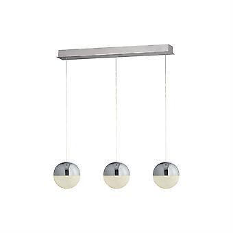 Searchlight Marmor integrierte LED 3 Light Globe Bar Anhänger Deckenleuchte Chrom, Silber 5843-3CC