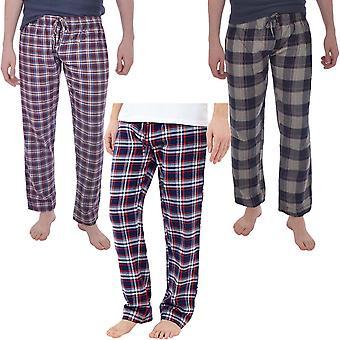 Brave Soul Mens Terrence Full length Tartan Pyjama Bottoms Calças