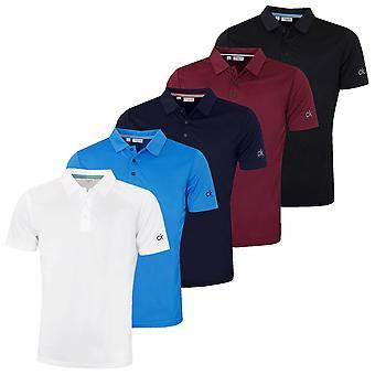 Calvin Klein Mens 2021 CK Central Sleeve Logo Wicking Golf Polo Shirt