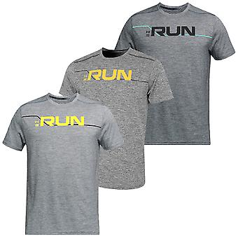 Under Armour Mens Run Front Graphic Laddad Bomull Stretch T-Shirt Top